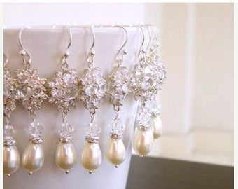 Summer Sale Bridal Earrings Ivory Pearl CZ Sterling Dangle 3 pairs