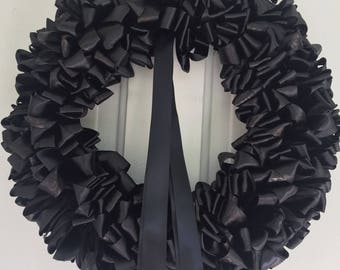 Wreath Mourning Wreath Black Ribbon 16 inch Ready to Ship Sympathy In Remembrance In Memorium Love Always