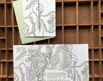letterpress bird map birthday card