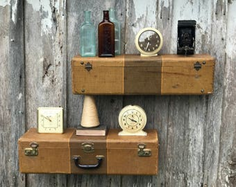 Pair of Wall Shelves Made from an Old Brown Tweed Suitcase Luggage Repurposed into Wall Shelves Shelf Travel Inspired
