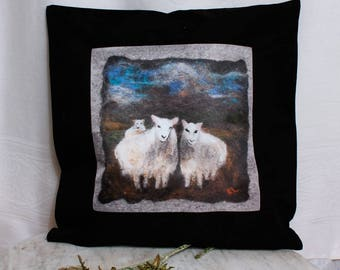 Pillow Cover Three Sheep From an Original Felted Painting