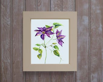 Framed clematis  print-  clematis watercolors- framed art- botanical watercolor- floral gift- framed floral painting- purple clematis