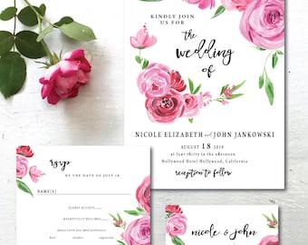 Wedding Invitation Set, Printable Spring Summer Wedding Invites, Pink Floral Wedding Invitations,  Floral Watercolor Wedding, Digital