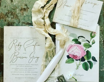 Vintage Calligraphy Invitation, Wedding Crest, Wedding Monogram Invitation, Custom Crest Invite,Vintage Botanical Wedding Invitation