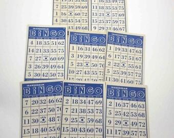 Vintage 1940s Blue Transogram Bingo Cards Set of 8