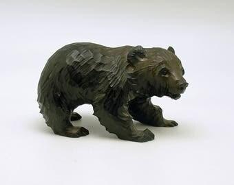 Vintage Bear Wood Figurine Ainu Carving Bear Cult