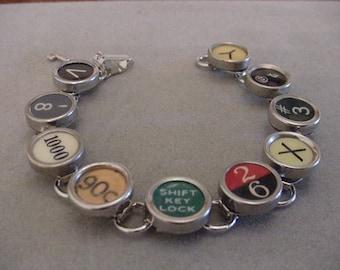 Typewriter Key bracelet Colorful Random Mix Vintage Typewriter key jewelry Steampunk jewelry Recycled jewelry