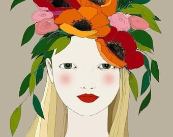 Sale Wild poppy Girl and Deluxe Edition Print of original drawing