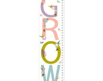 Growth Chart, Nursery Decor, Custom Canvas Growth Chart, GROW Floral Rainbow Chart