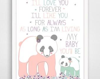 I'll Love You Forever I'll Like You For Always Panda Bear Print - Pink and Mint Nursery Decor - Panda Bear Decor - Pink Bear