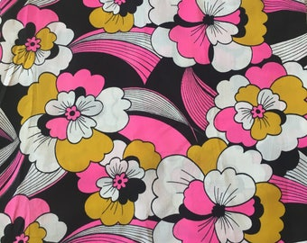 Vintage mod psychodelic pucci fabric.  pink, goldenrod, black and white floral 70s print 3.8 yards