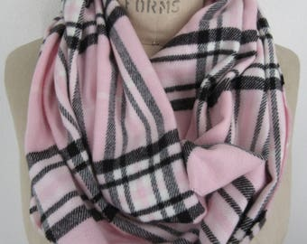 pink infinity scarf Plaid Flannel cowl checkered neck wrap soft casual loop warm winter muffler neck warmer Boho chic tube  preppy accessory