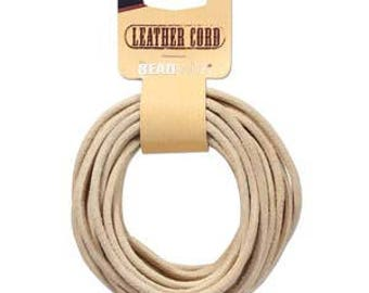 Beadsmith Natural Leather Cord 3mm/5yds