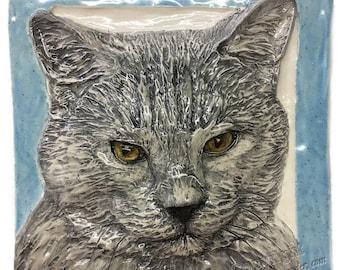 Shorthair Cat Tile CERAMIC Portrait Sculpture 3d Art Tile Plaque FUNCTIONAL ART by Sondra Alexander In Stock