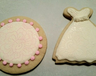 Lace Wedding Dress and Round Lace Sugar Cookies