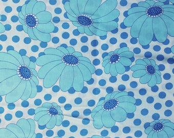 Seventies vintage floral fabric - 125x40 cm.