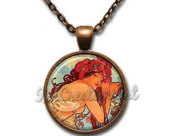 25% OFF - Mucha's Painting Summer Glass Pendant Necklace Square Round AP157
