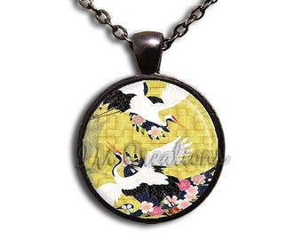 25% OFF - Lovely Cranes Glass Dome Pendant or with Chain Link Necklace AP116