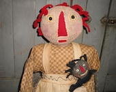 Large Cloth Doll | Primitive Doll | Cloth Raggedy Ann | Handmade Doll | Handmade Primitive Raggedy