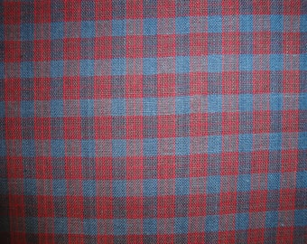 Navy And Wine Plaid Homespun Fabric |  Rag Quilt Fabric | Craft Fabric | Cotton Plaid Fabric | Fabric Sold By The Yard