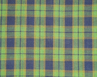 FLAWED Homespun Material Cotton Navy And Green Plaid 40 x 44