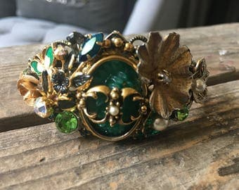 Sit a Spell Vintage Jewelry Collage Assemblage Cuff Bracelet Green Gold Floral Butterfly