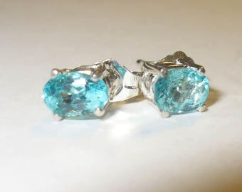 Blue Apatite Stud Earrings in Solid Sterling Silver