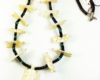 Native American Bone Turtle Bead Necklace Vintage