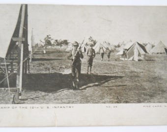 Vintage Postcard WW1 • Camp of the 12th US Infantry • Pine Camp New York  1908