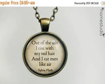 ON SALE - Sylvia Plath (Red Hair) Quote jewelry. Necklace, Pendant or Keychain Key Ring. Perfect Gift Present. Glass dome metal charm by Hom
