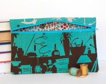 Teal Pencil Pouch Greenhouse Print Bag Makeup Bag