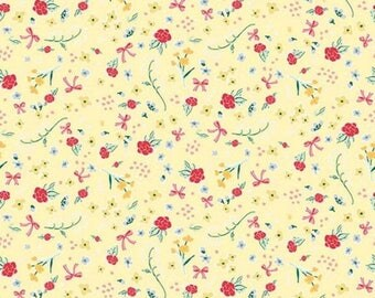 "ON SALE Penny Rose Fabrics ""Bunnies and Cream"" Yellow Roses"