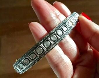 Diamond slice rose cut diamond pave bracelet extra small sample sale Sterling silver bangle oxidized gold plate
