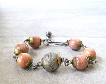 blush pink wire wrap bracelet, kazuri bead and sterling bracelet, rustic chunky bracelet, mixed metal bracelet, boho chunky bracelet