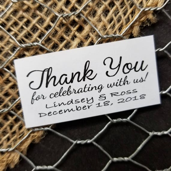 Thank You for celebrating with us Sticker Personalized Wedding Shower Favor 1 x 2 STICKER choose your amount