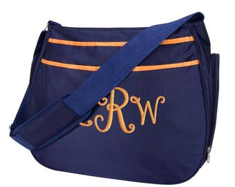 Personalized Diaper Bag Navy Blue Orange, Hobo Style, Monogrammed Baby Boy Tote