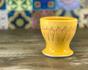 Small porcelain cup.  Bathroom water cup.  Mango glazed cup.  Bathroom accessories.  Bathroom set.  Hand stamped ceramic cup. Mango bathroom