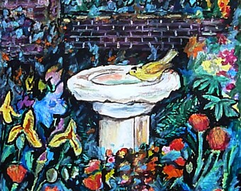 Wall Art - Art Print - Oil Pastel - Yellow Finch - Leah Reynolds