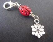 Lucky Ladybug - One Helper Marker - Repositionable Stitch Marker - Journal Charm - Zipper Charm
