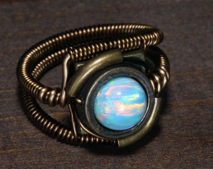 Steampunk Jewelry - Ring - Turquoise Fire and Ice LAB created OPAL