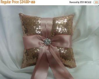 ON SALE Rose Gold Sequin Ring Pillow or Basket -Colors- Flower Girl -Ringbearer, Wedding, Bridal, Sequin,  Ribbon Choice, Bling Diamo