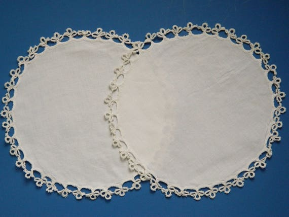 """Pair of Vintage 9"""" Round Trimmed Doilies"""