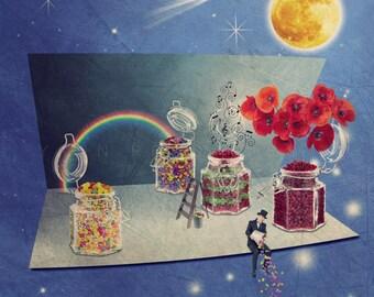 Sleep well print, Space themed nursery decor, space art, moon nursery, Sweet Dreams print, Bedroom decor