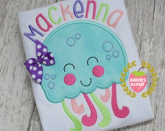 Jelly Fish - Jellyfish appliqué shirt  T-shirts - Girl T-shirt  personalized shirt  monogrammed  - toddler - children - 12 18 2t 3t 4t 5t 6