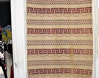 Vintage 50s Southwestern Rockabilly Brown Blue Curtain Panel As Is