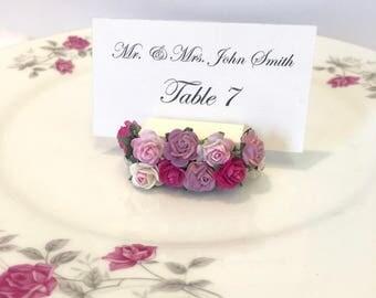 Flower Place Card Holder + Floral Place Card Holders + Garden Wedding (Set of 25)