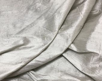 Dove Gray Silk DUPIONI Fabric - 1 Yard