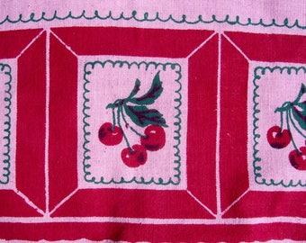 Vintage 1940s Towel Cotton Linen PINK Cottage Chic Red CHERRIES