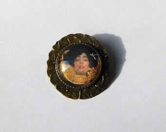 Brosche Cabochon Jugendstil Klimt bronze