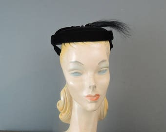 Vintage Hat 1950s Black Velvet with Feather Spray, fits any size